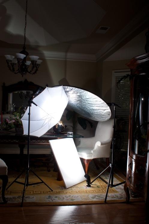 3x flash and reflector setup